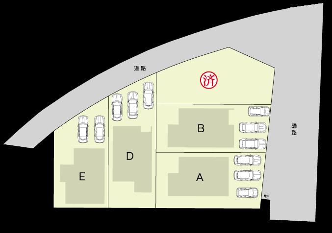 JR鹿児島本線「福間」駅徒歩約7分。新築住宅4棟分譲。